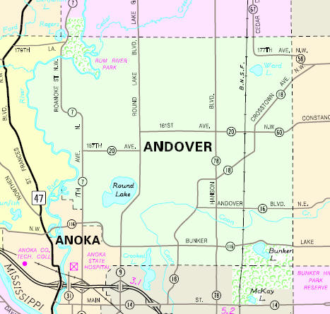 Minnesota State Highway Map of the Andover Minnesota area