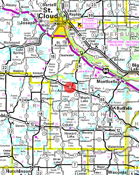 Minnesota State Highway Map of the Annandale Minnesota area