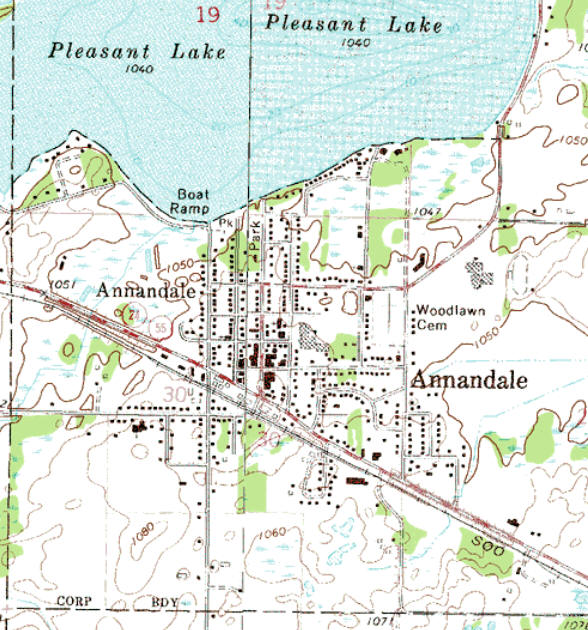 Topographic map of the Annandale Minnesota area