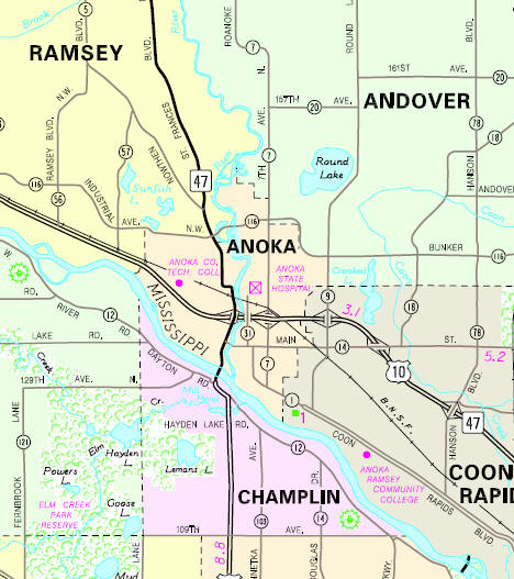 Minnesota State Highway Map of the Anoka Minnesota area