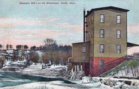 Champlin Mill on the Mississippi River, Anoka Minnesota, 1909