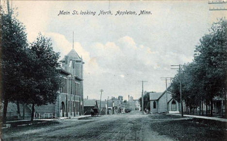Main Street looking north, Appleton Minnesota, 1909