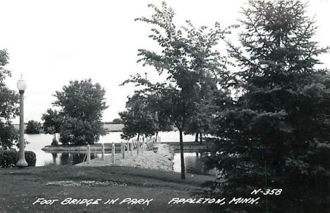 Foot Bridge in Park, Appleton Minnesota, 1930's