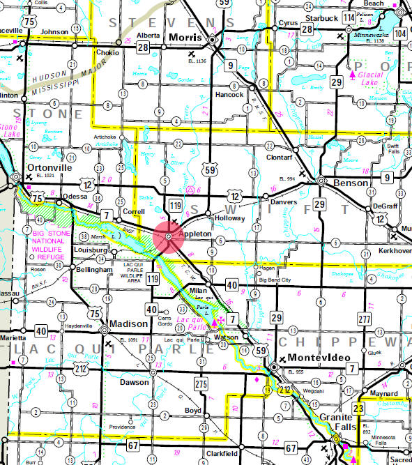 Minnesota State Highway Map of the Appleton Minnesota area