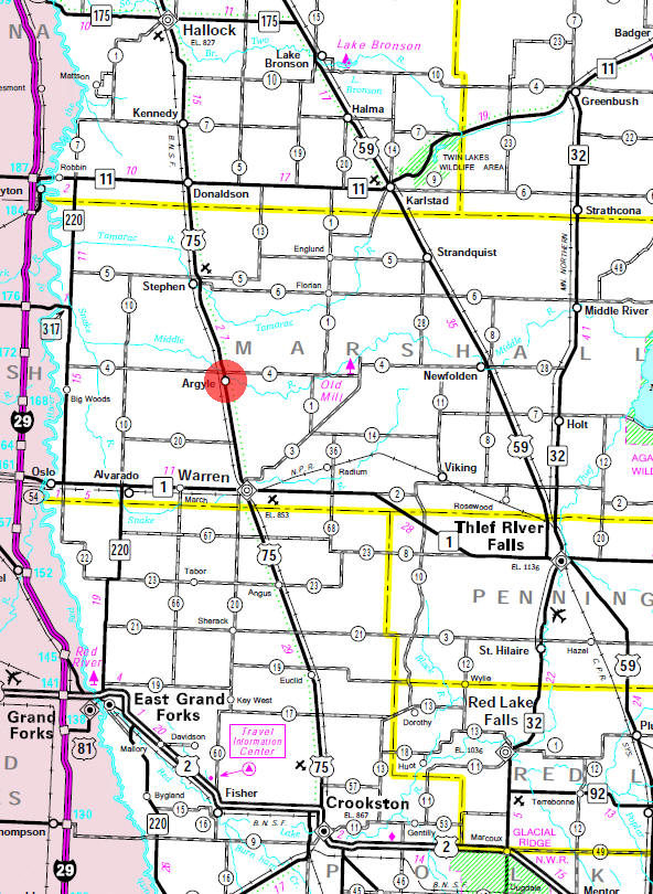 Minnesota State Highway Map of the Argyle Minnesota area