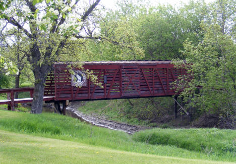 Railroad car converted to foot bridge, Argyle Minnesota, 2008