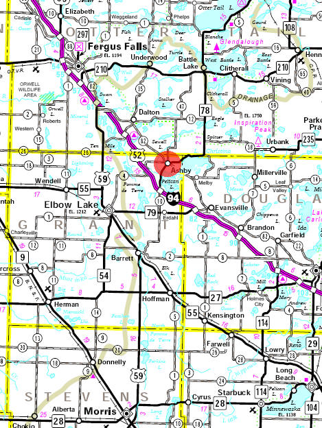Minnesota State Highway Map of the Ashby Minnesota area