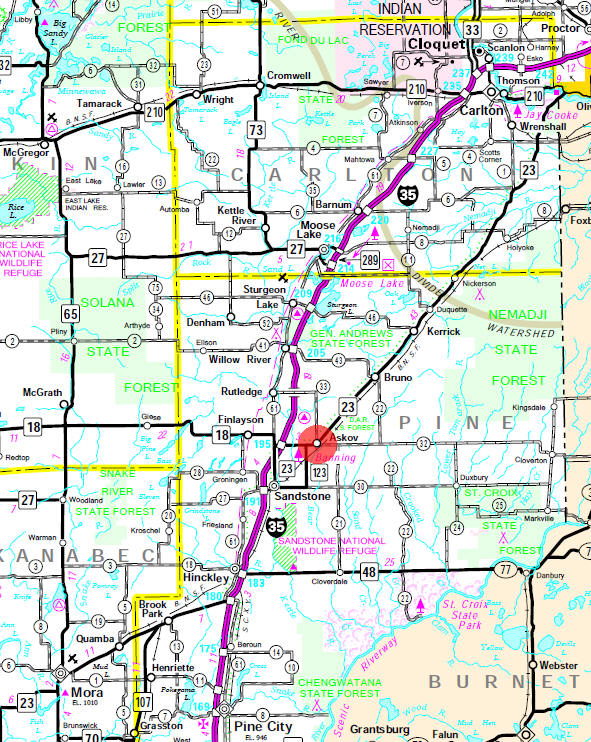 Minnesota State Highway Map of the Askov Minnesota area
