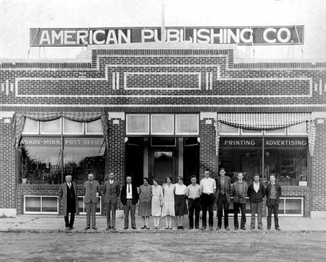 Staff of American Publishing Company, Askov Minnesota, 1926