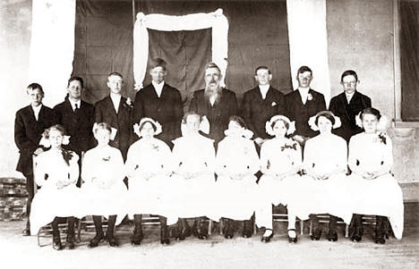 Confirmation class, Bethlehem Lutheran Church, Askov Minnesota, 1912