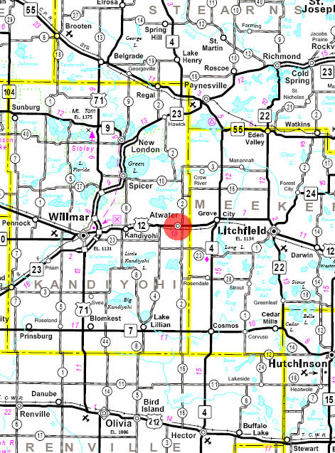 Minnesota State Highway Map of the Atwater Minnesota area