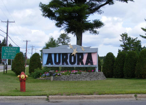 Welcome sign on south end of town, Aurora Minnesota, 2009