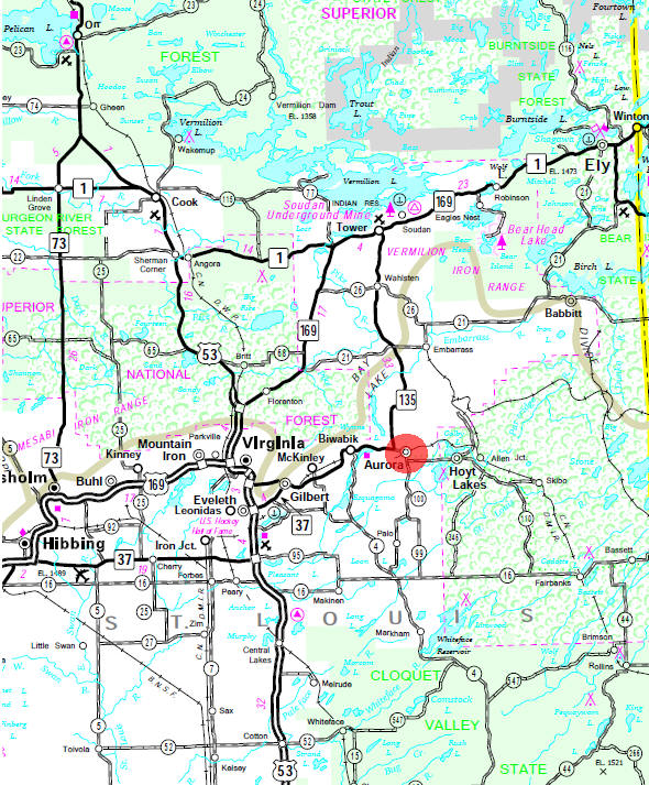 Minnesota State Highway Map of the Aurora Minnesota area