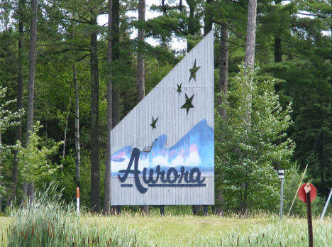 Welcome sign, Aurora Minnesota, 2009