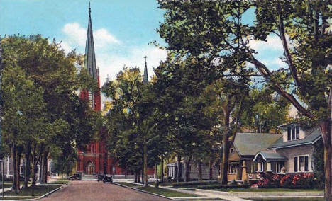 Water Street and Catholic Church, Austin Minnesota, 1933