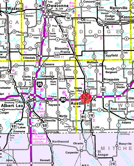 Minnesota State Highway Map of the Austin Minnesota area