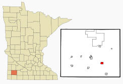 Location of Avoca, Minnesota