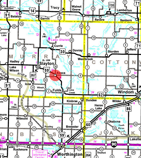 Minnesota State Highway Map of the Avoca Minnesota area