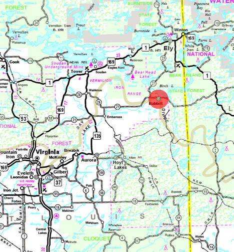 Minnesota State Highway Map of the Babbitt Minnesota area