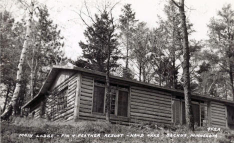 Main Lodge, Fin and Feather Resort, Backus Minnesota, 1950's