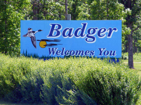 Welcome sign, Badger Minnesota, 2009