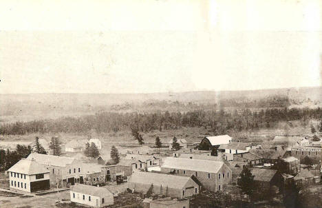 Birds eye view, east end of Bagley Minnesota, 1908