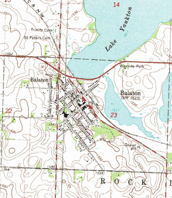 Topographic map of the Balaton Minnesota area