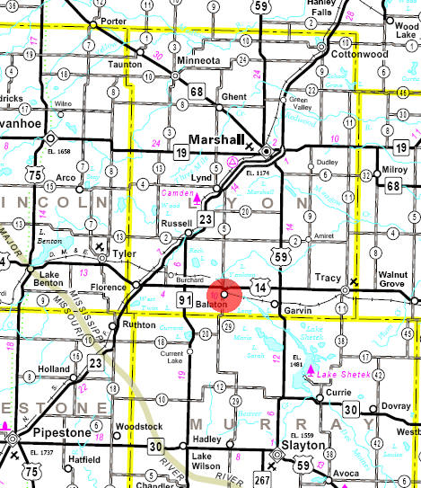 Minnesota State Highway Map of the Balaton Minnesota area