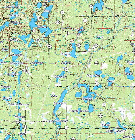 Topographic Map of the Balsam Township Minnesota area