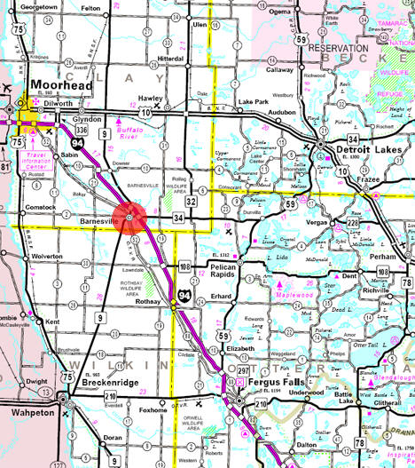 Minnesota State Highway Map of the Barnesville Minnesota area