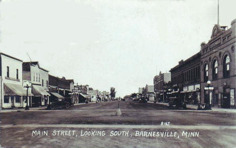 Main Street looking south, Barnesville Minnesota, 1929