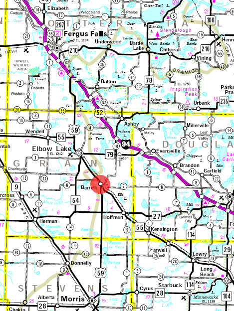 Minnesota State Highway Map of the Barrett Minnesota area