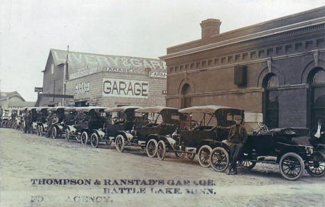 Thompson & Ranstad's Garage and Ford Agency, Battle Lake Minnesota, 1914