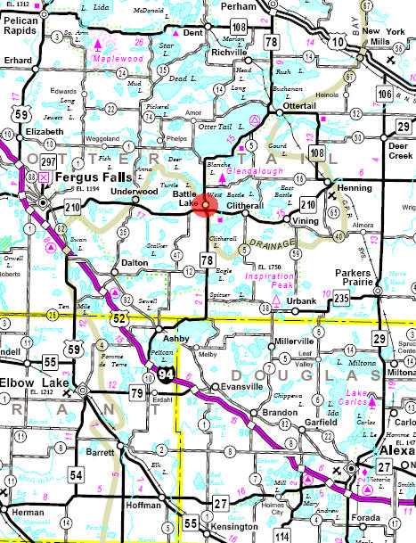 Minnesota State Highway Map of the Battle Lake Minnesota area