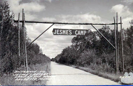 Entrance to Jesme's Resort on Lake of the Woods, Baudette Minnesota, 1950's
