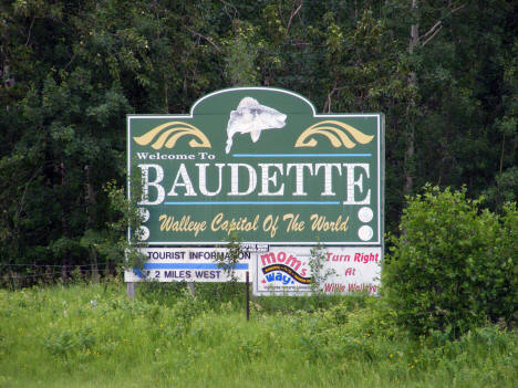 Welcome sign, Baudette Minnesota, 2009