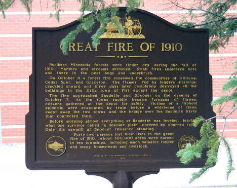 Great Fire of 1910 Historical Marker, Baudette Minnesota, 2009
