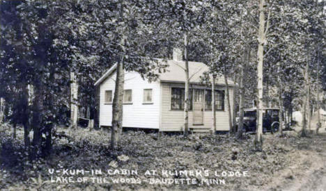 U-Kum-In Cabin at Klimer's Lodge, Baudette Minnesota, 1920's