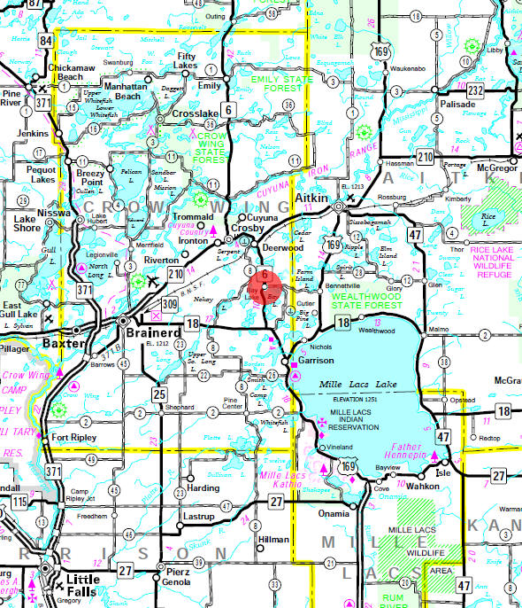 Minnesota State Highway Map of the Bay Lake Minnesota area