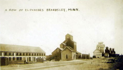 Row of Elevators, Beardsley Minnesota, 1910's?