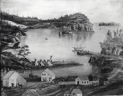 Painting of Beaver Bay Minnesota. 1870