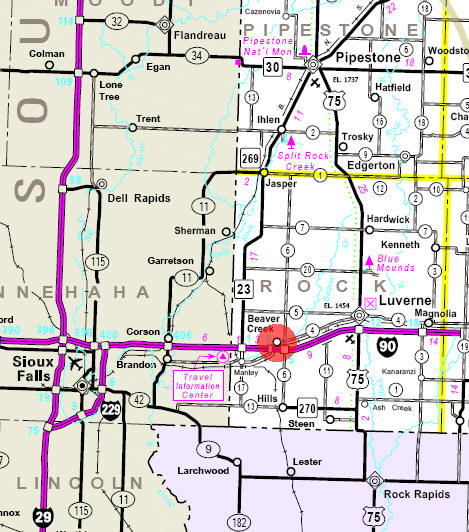 Minnesota State Highway Map of the Beaver Creek Minnesota area