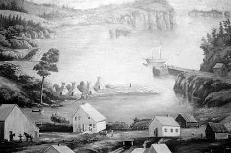 Painting of Beaver Bay showing the Wooden Schooner Charlie, 1871