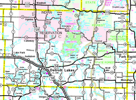 Minnesota State Highway Map of the Becker County Minnesota area