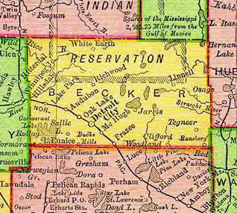 1895 Map of Becker County Minnesota