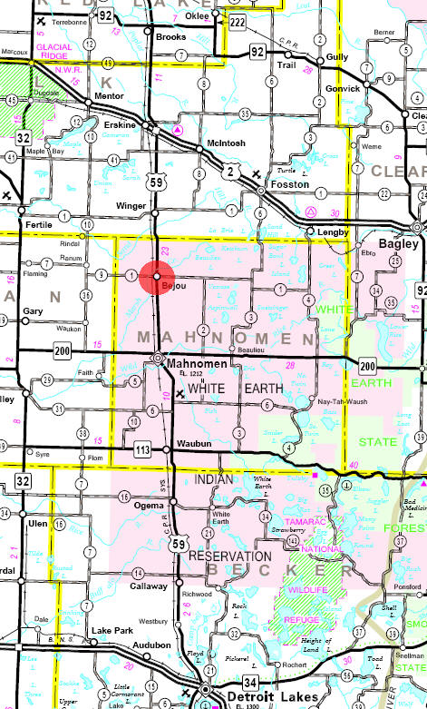 Minnesota State Highway Map of the Bejou Minnesota area