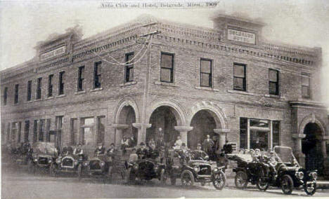 Auto Club and the Belgrade Hotel in Belgrade, Minnesota, 1909