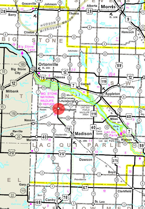 Minnesota State Highway Map of the Bellingham Minnesota area