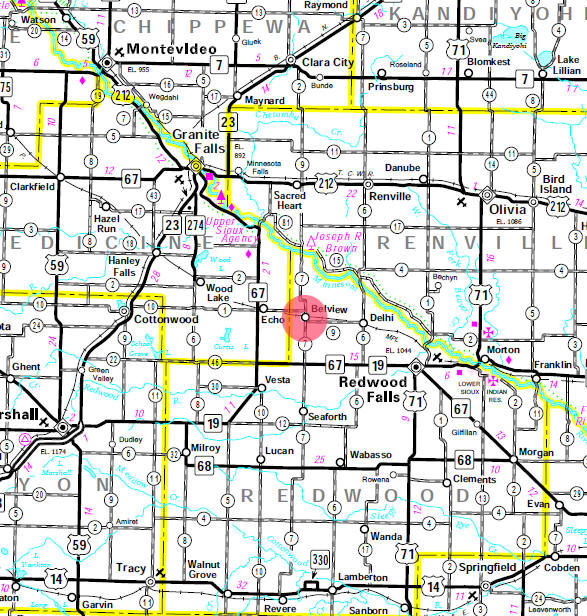 Minnesota State Highway Map of the Belview Minnesota area