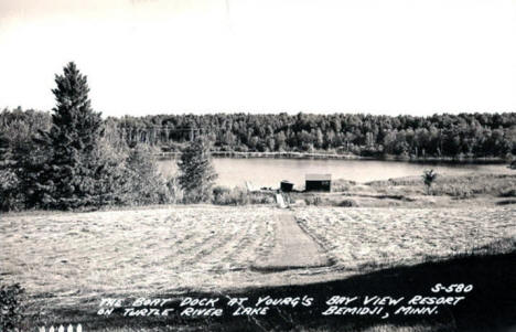 Boat Dock at Yourg's Bay View Resort on Turtle River Lake, Bemidji Minnesota, 1940's